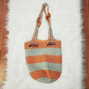 Hand Woven Crochet Large Tote Bag with Beads